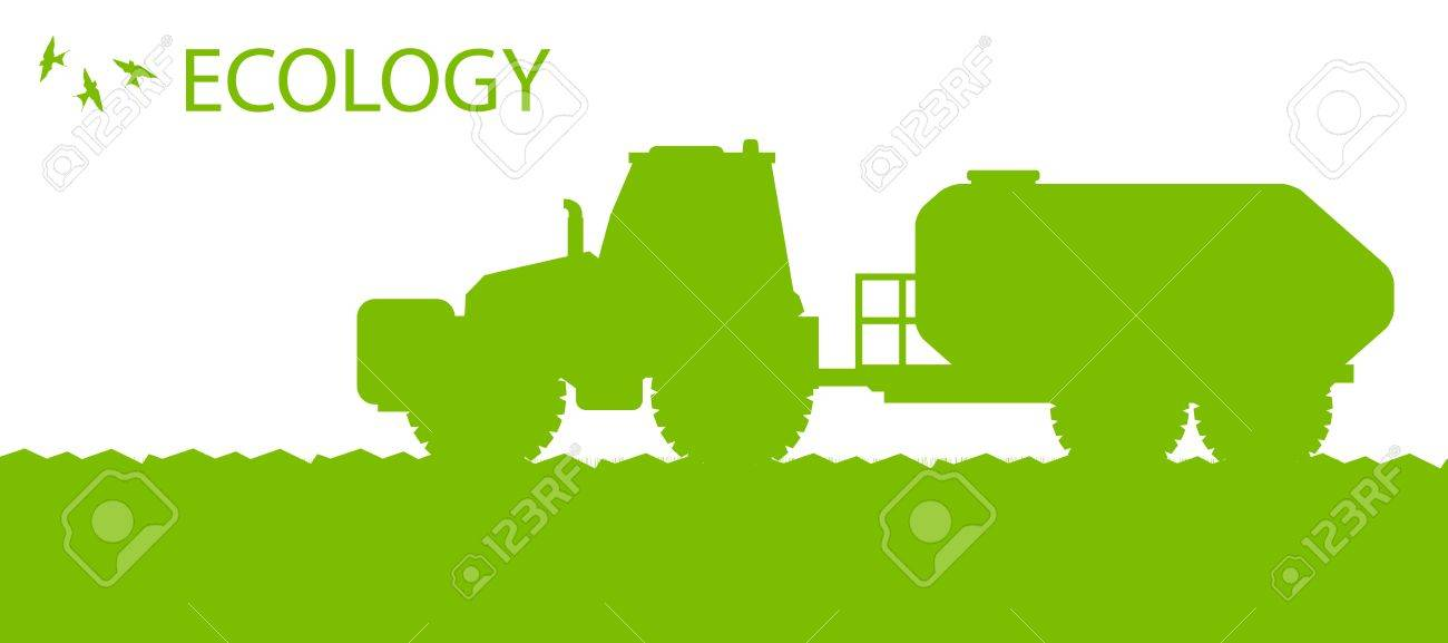 Ecology background organic farming vector concept with tractor fertilizer for poster Stock Vector - 18580899
