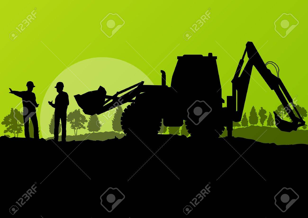 Excavator loader and workers digging at construction site with raised bucket vector background Stock Vector - 18581158