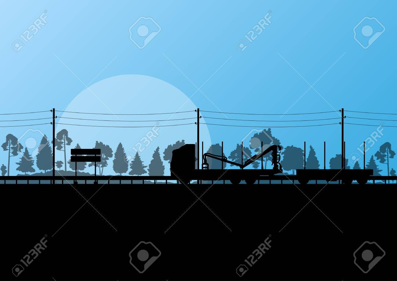 Forestry loggers truck on highway in forest landscape illustration background vector Stock Vector - 18581151