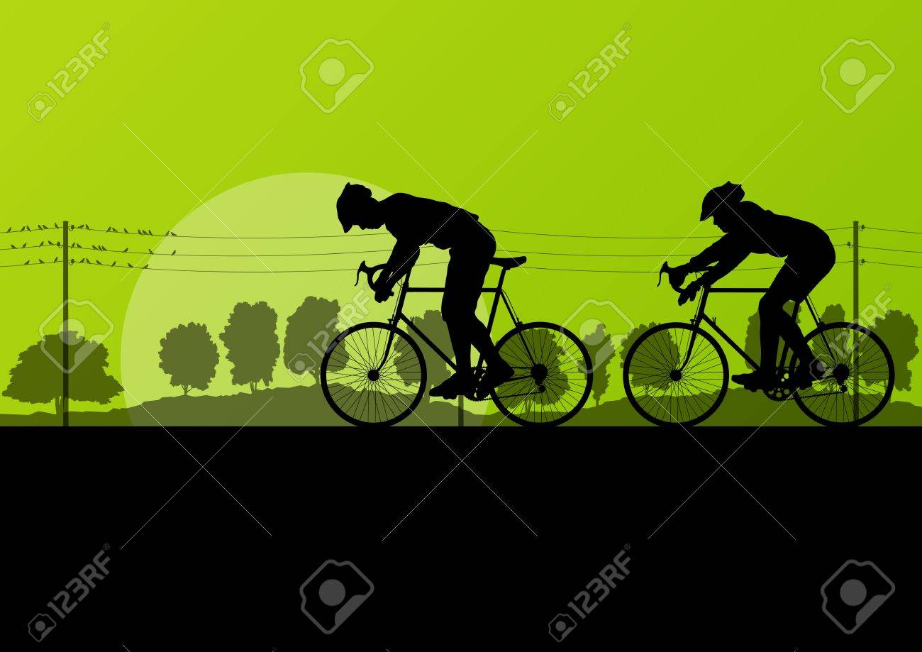 Sport road bike riders and bicycles detailed silhouettes in country side wild forest nature landscape background illustration vector Stock Vector - 18581161