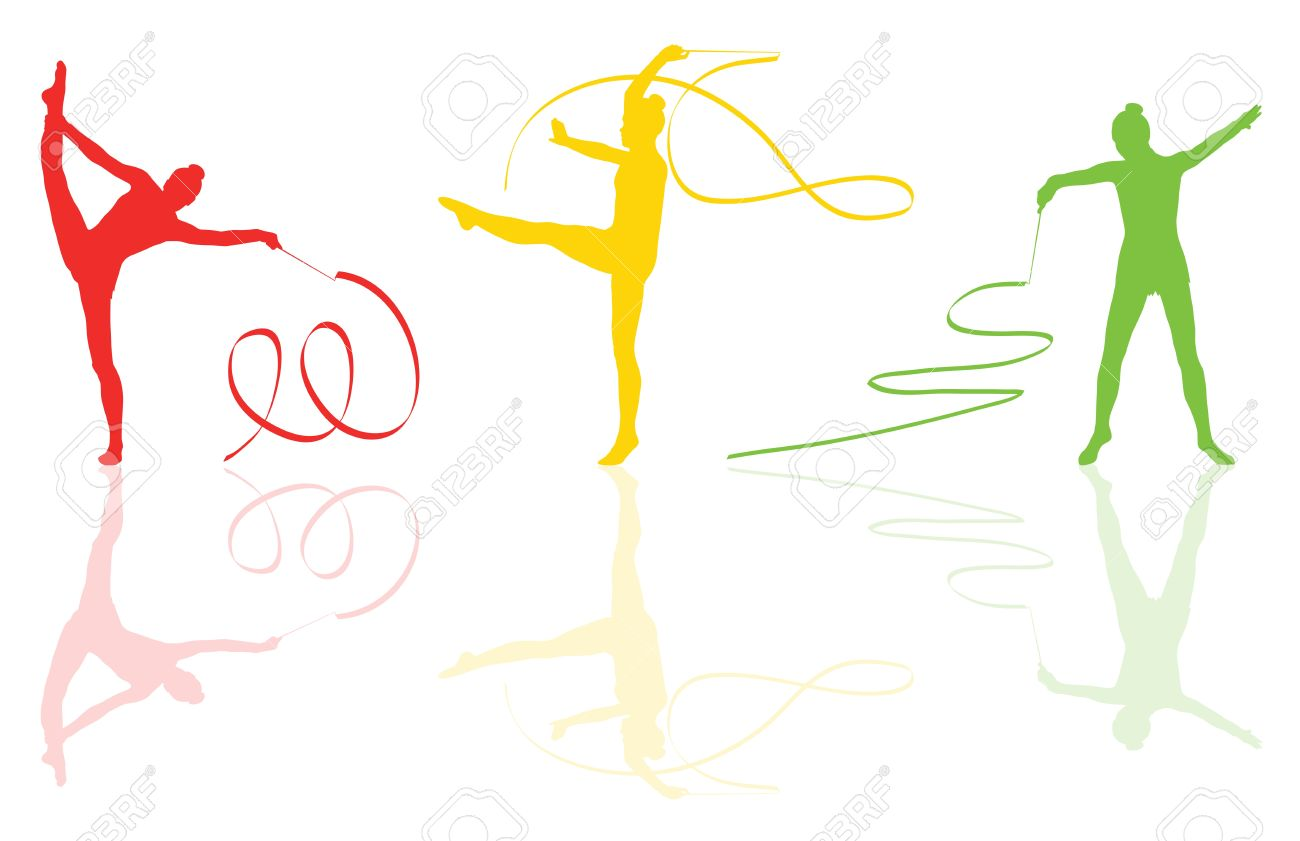 Young women doing calisthenics art gymnastics sport tricks with ribbon in abstract background illustration vector Stock Vector - 19181172