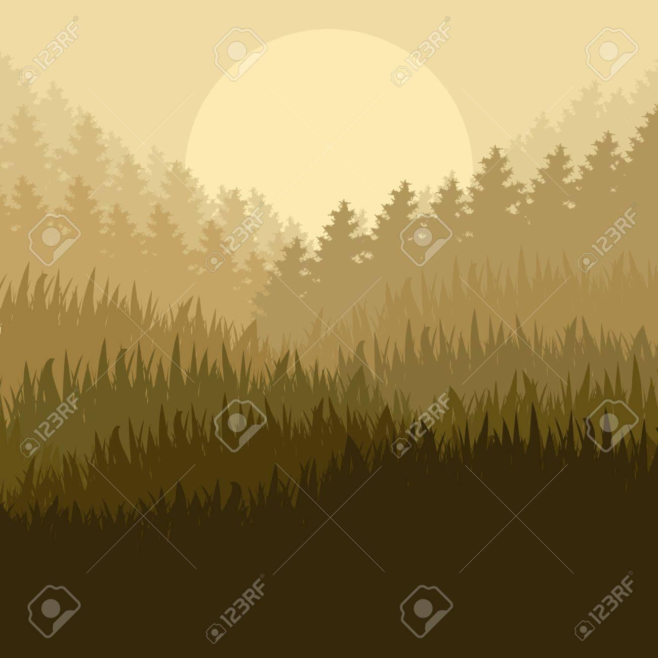 野生の山の森自然風景シーン背景イラスト ポスター ロイヤリティフリー
