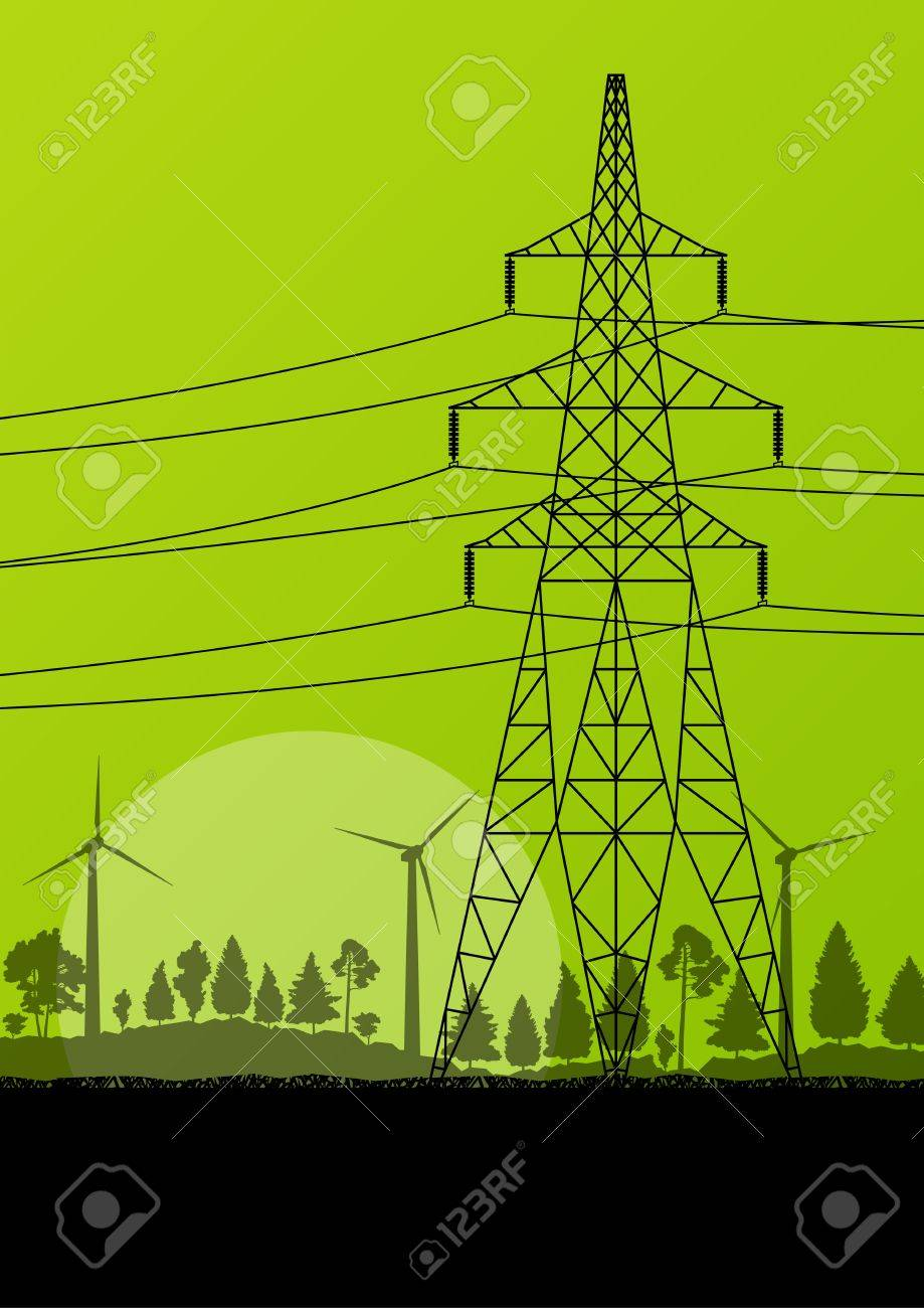 Power high voltage electricity tower line in countryside forest nature landscape background Stock Vector - 19973261