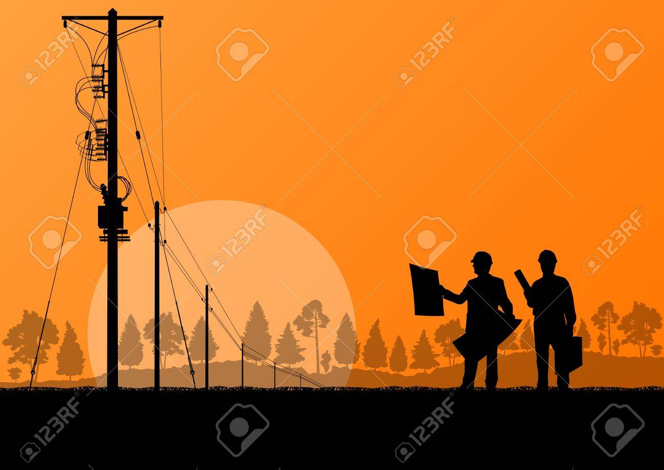 Power high voltage tower with engineer background for poster Stock Vector - 19973298