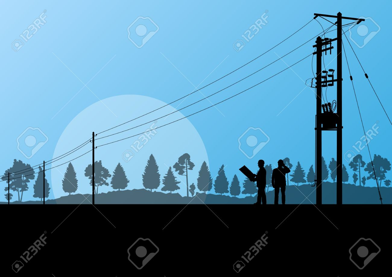 Power high voltage tower with engineer background for poster Stock Vector - 19973194