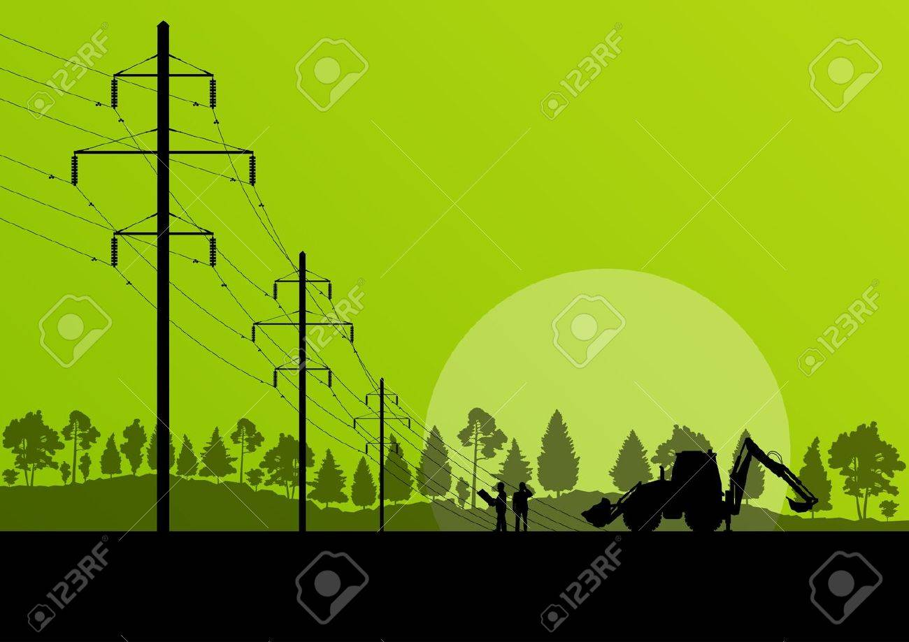 Power high voltage tower with engineer background for poster Stock Vector - 19973254