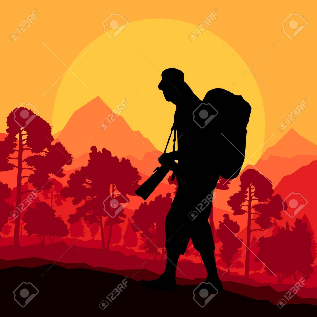 Photographer silhouette in wild mountain forest nature landscape background Stock Vector - 20462516