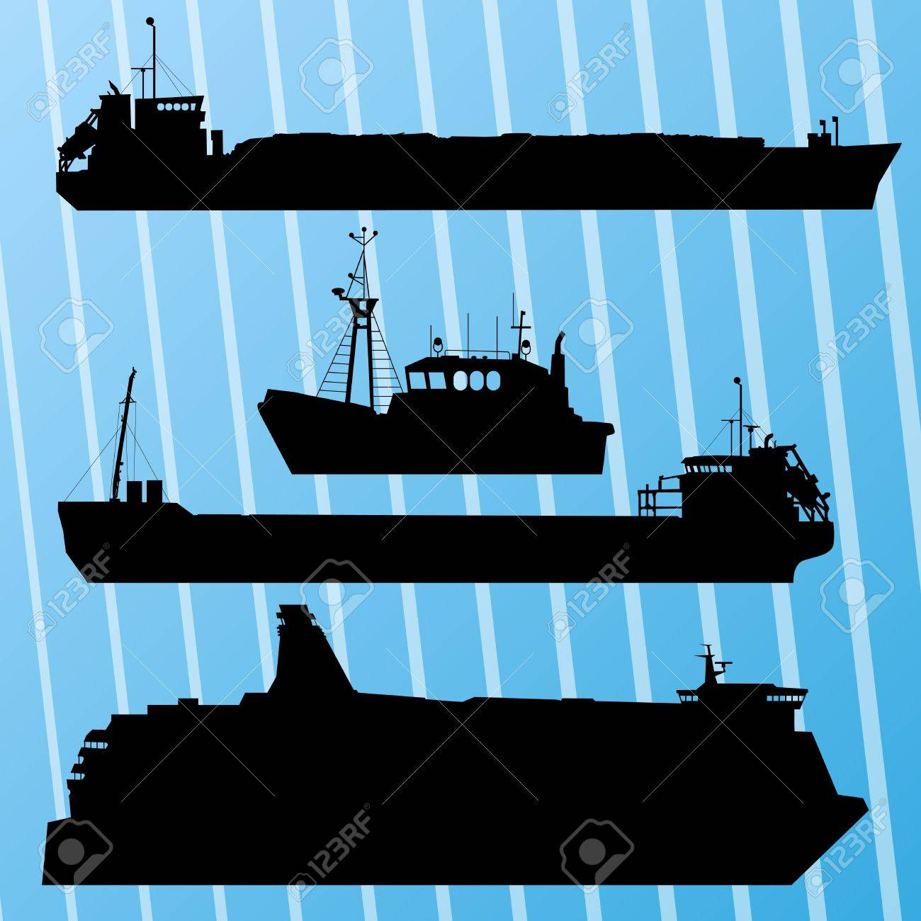 Freight Ship, Fishing Boat And Travel Ferry Boat Set Silhouettes ...
