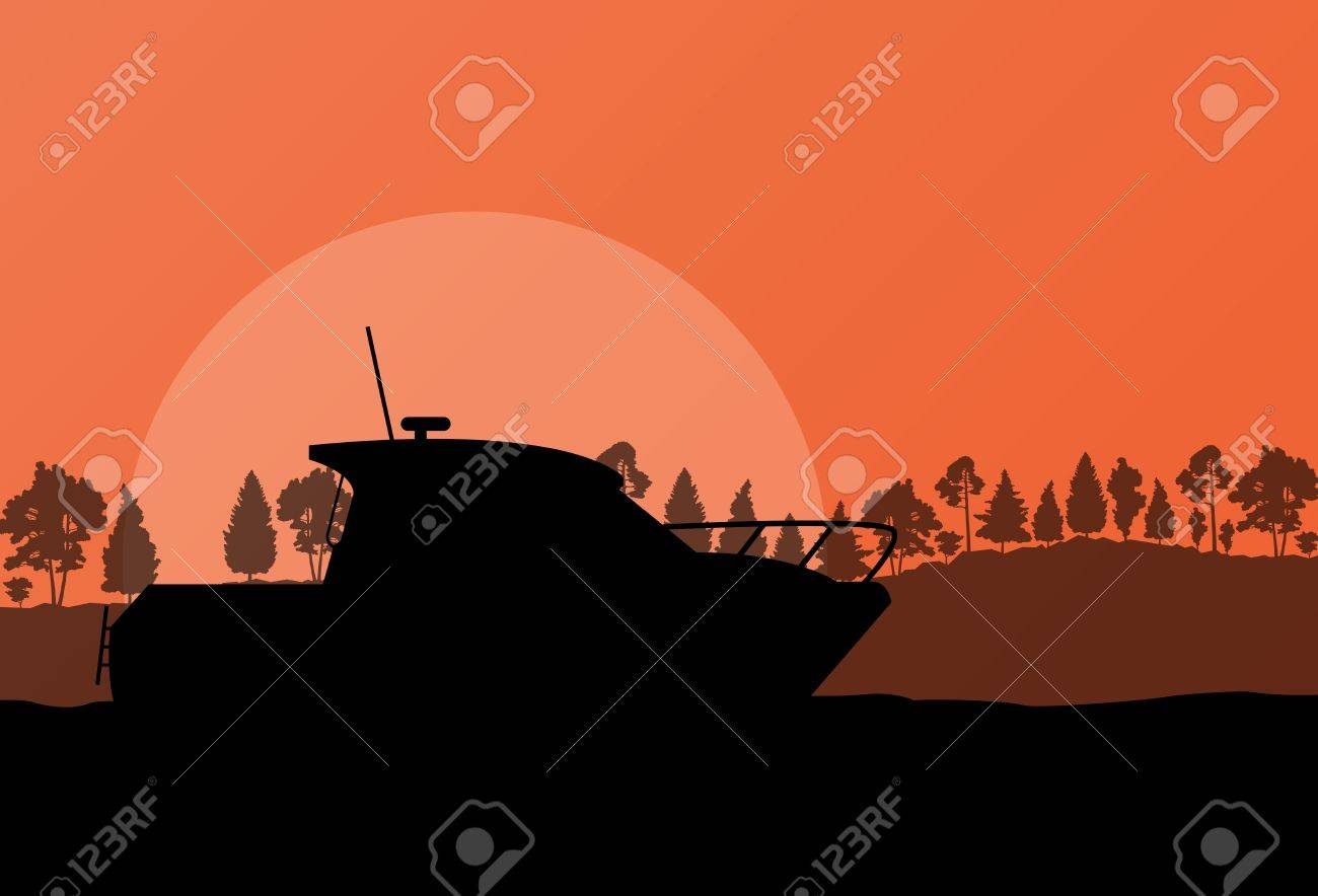 Yacht, boat sailing background for poster Stock Vector - 20899878