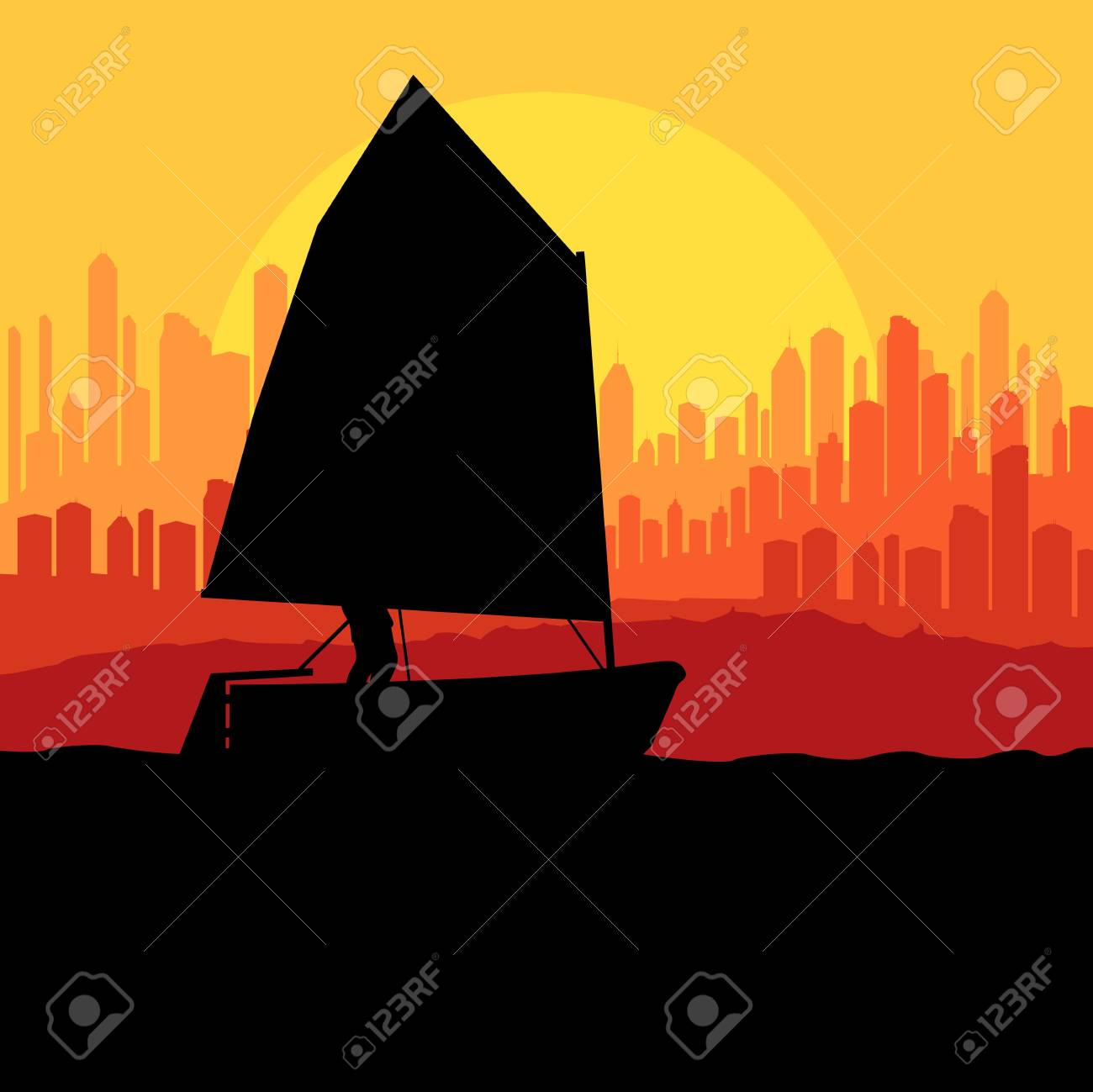 Yacht, boat sailing background for poster Stock Vector - 20899880