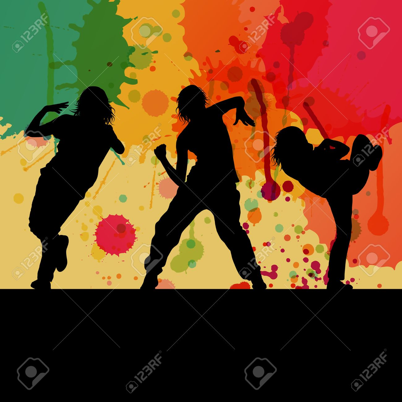 Girl dance silhouette vector background concept for poster Stock Vector - 22197190