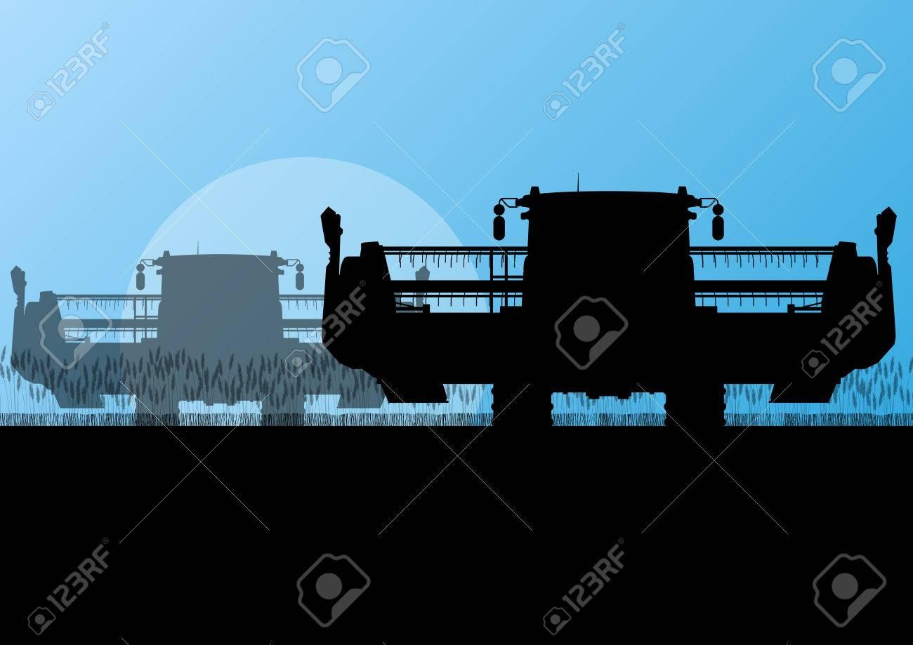 Agricultural combine harvester in grain field seasonal farming landscape scene illustration background vector Stock Vector - 22197248