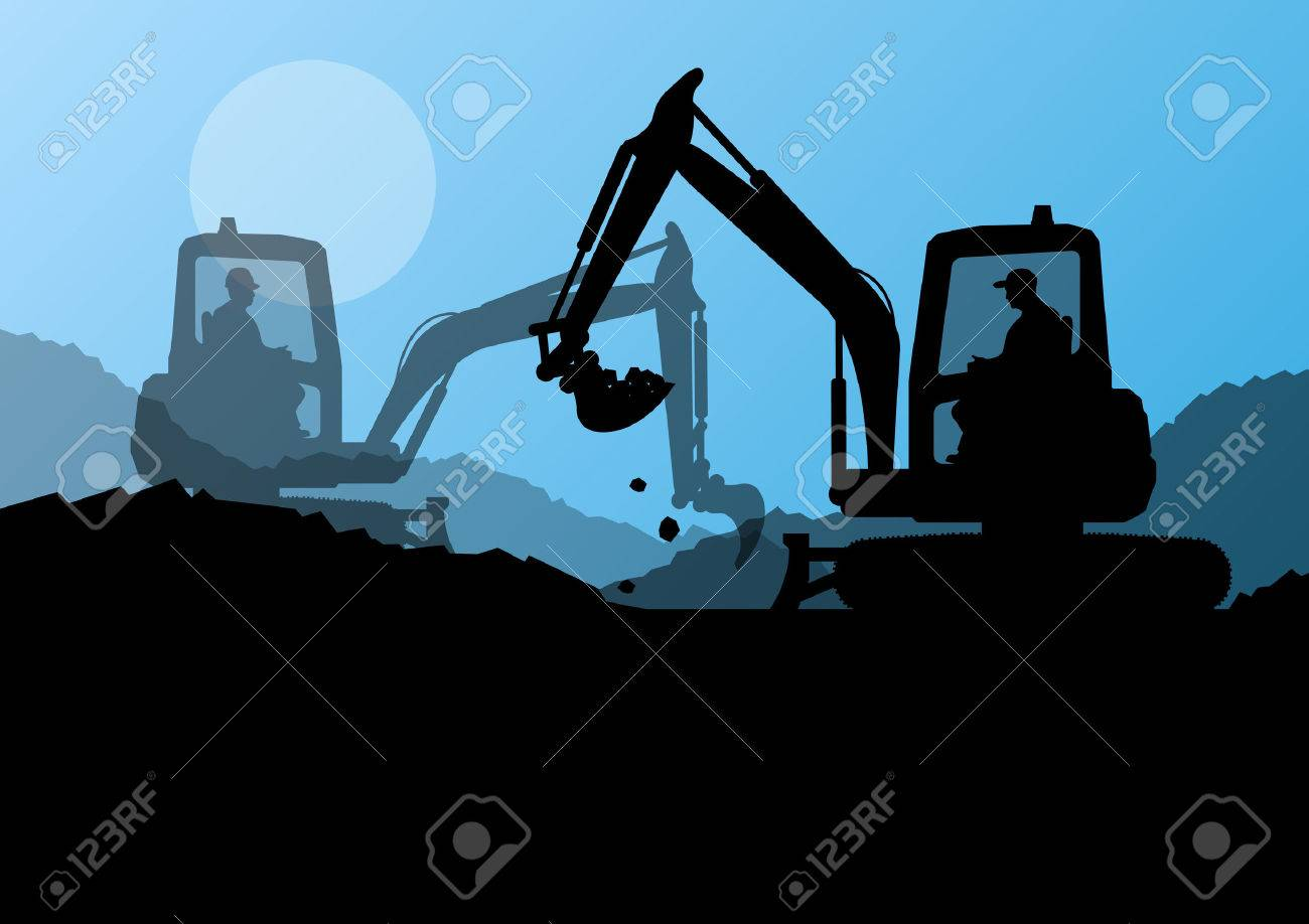 Excavator loaders and workers digging at construction site with raised bucket vector background Stock Vector - 22197305