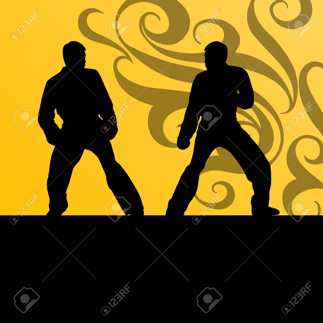 Active tae kwon do martial arts fighters combat fighting and kicking sport silhouettes illustration background vector Stock Vector - 22893771