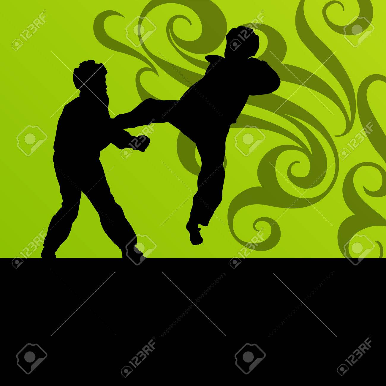 Active tae kwon do martial arts fighters combat fighting and kicking sport silhouettes illustration background vector Stock Vector - 22893776