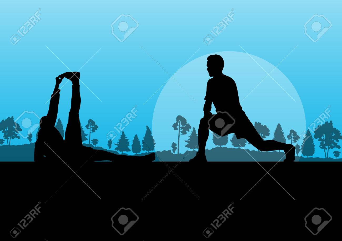 Man stretching exercise warming up vector background for poster Stock Vector - 23814122