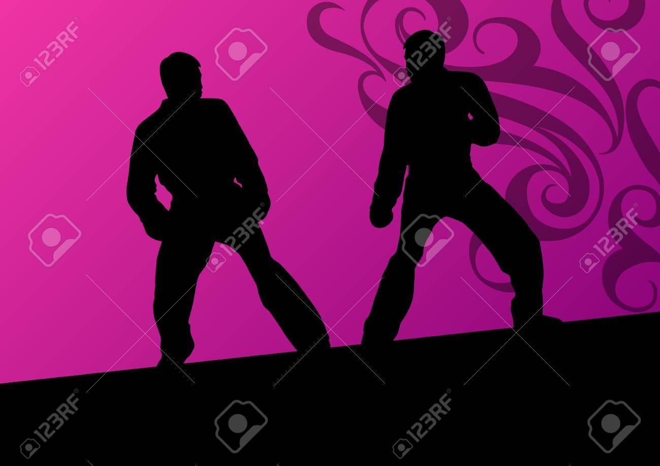 Active tae kwon do martial arts fighters combat fighting and kicking sport silhouettes illustration background vector Stock Vector - 23814239