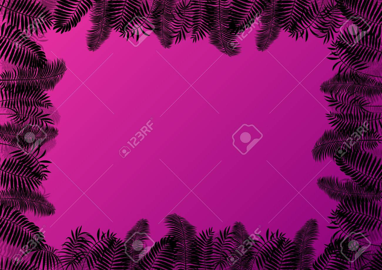 Exotic forest jungle leaves, grass and herbs wild untamed nature landscape illustration background vector for poster Stock Vector - 23814259