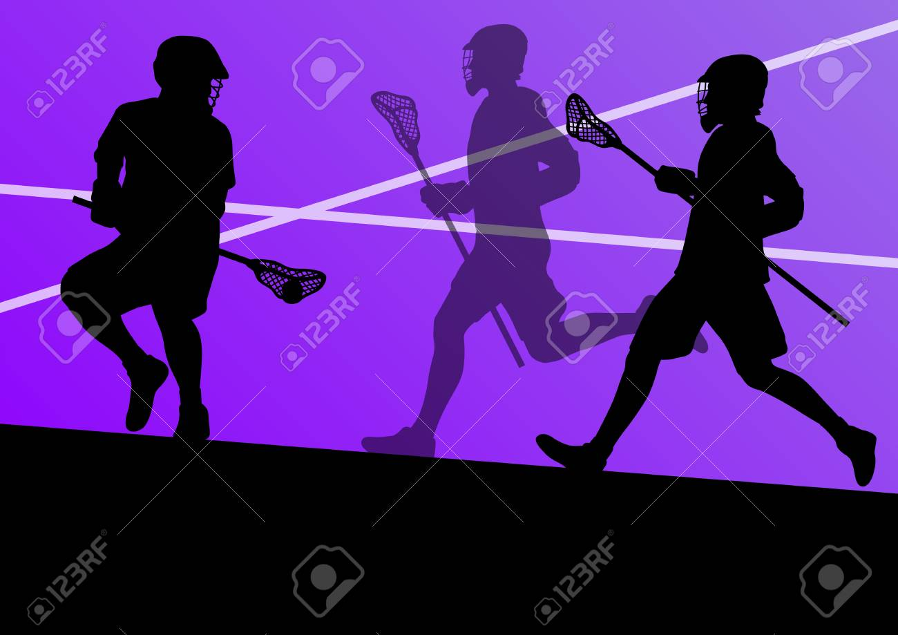 Lacrosse players active sports silhouettes background illustration Stock Vector - 24474744