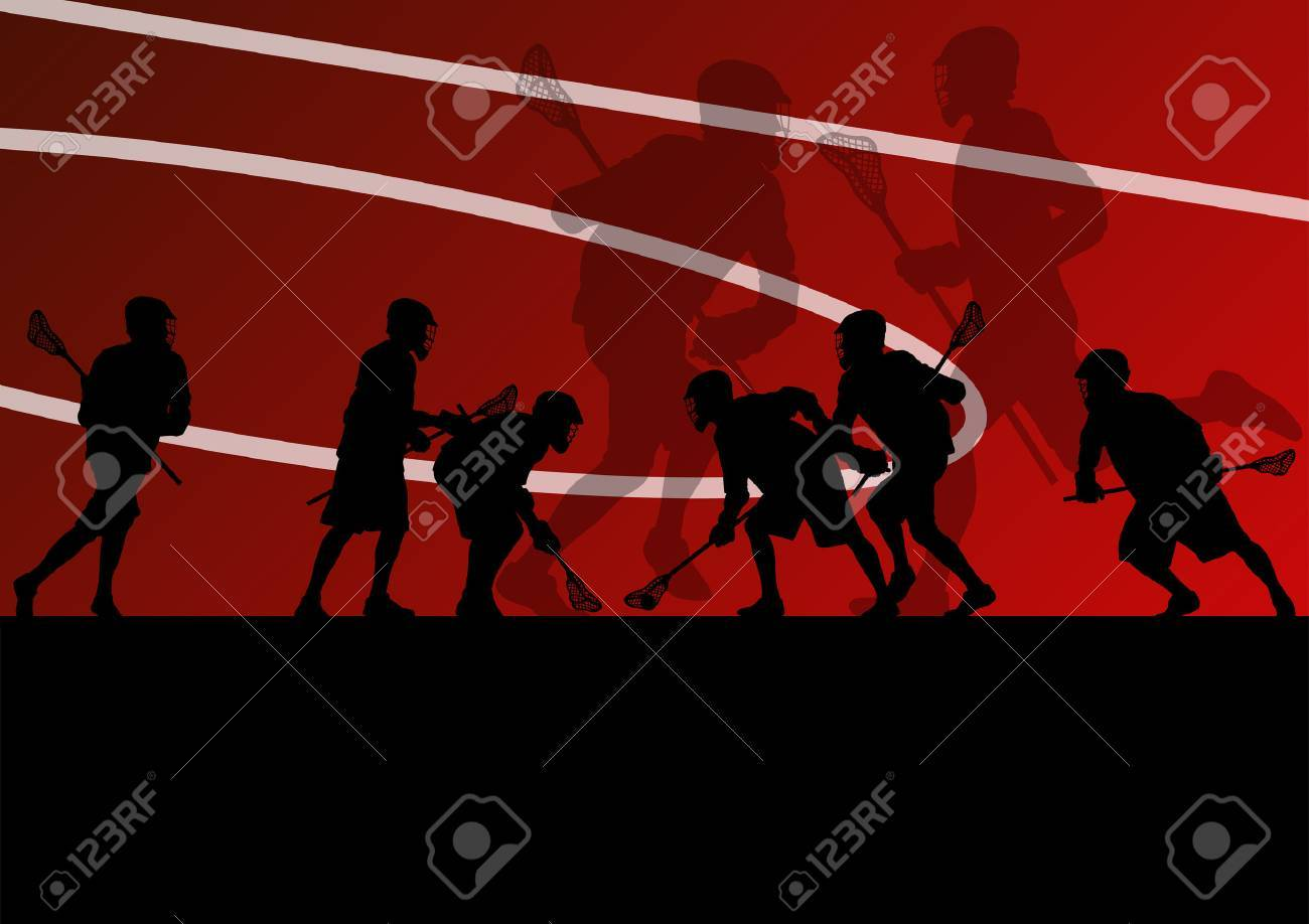 Lacrosse players active sports silhouettes background illustration Stock Vector - 24474750