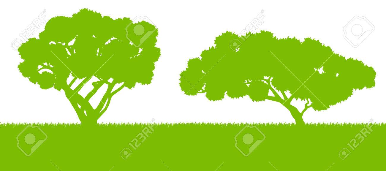 Forest Trees Silhouettes Landscape Illustration Background Vector ...