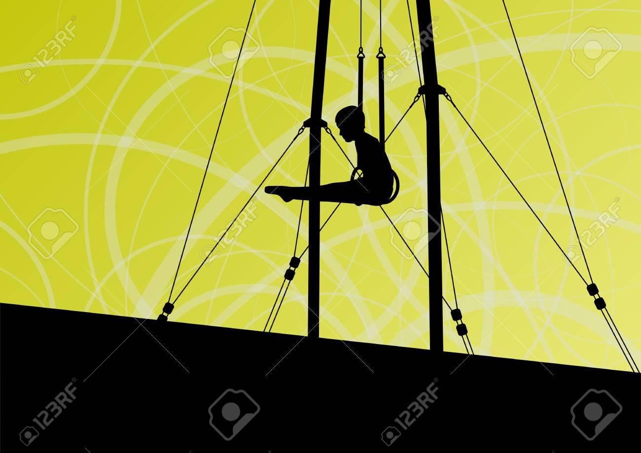 3d13259a7113 Foto de archivo - Los niños activos y fuertes en la gimnasia anillos silueta  deporte