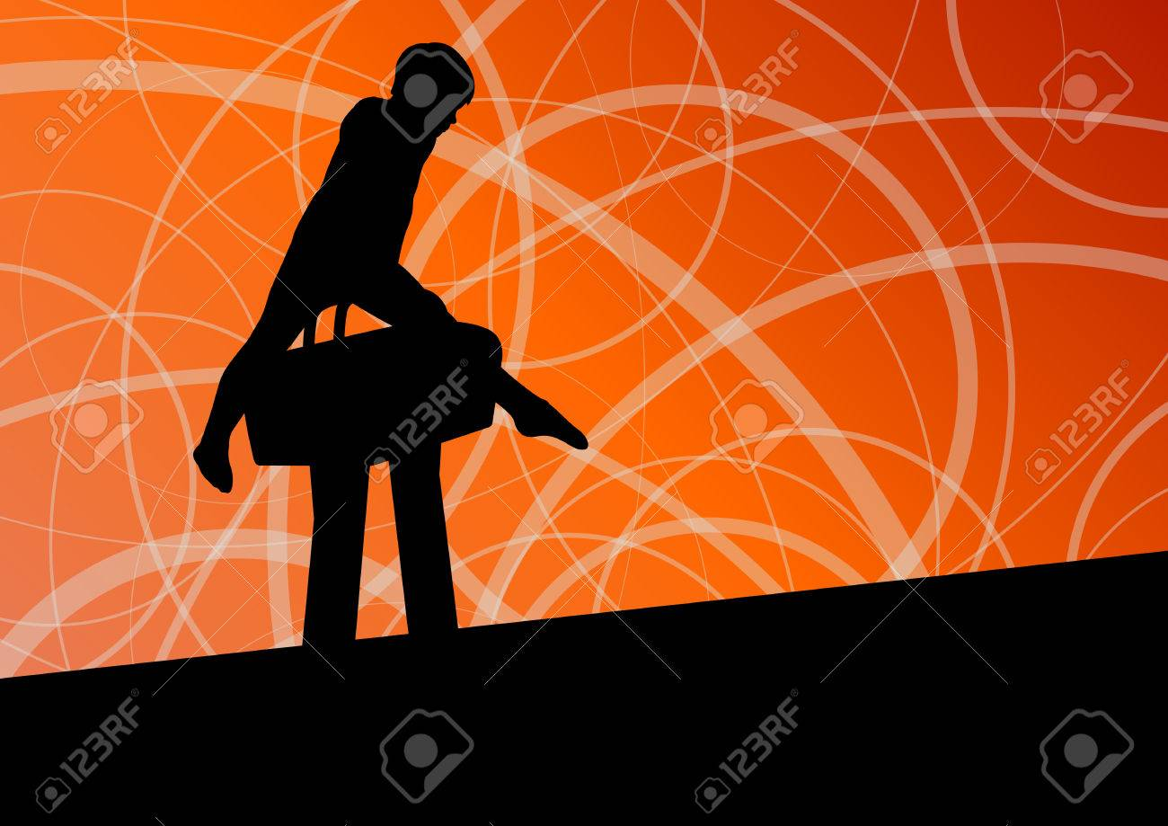 4bac32c5c3e4 Foto de archivo - Los niños activos deporte silueta sobre fondo abstracto  Ilustración Potro de vector para el cartel