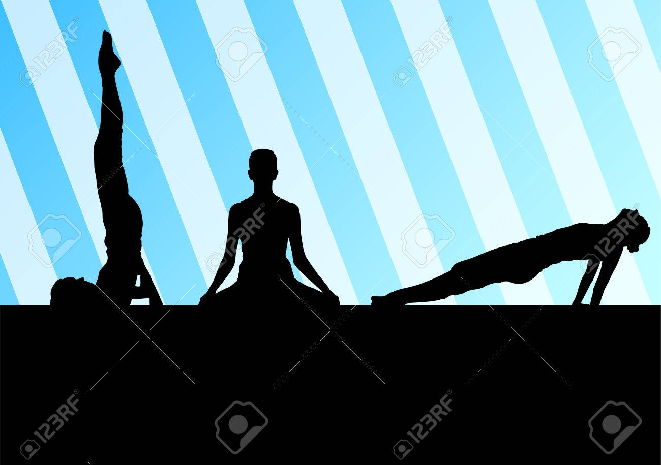 Yoga silhouettes vector background abstract template concept for poster Stock Vector - 25224316