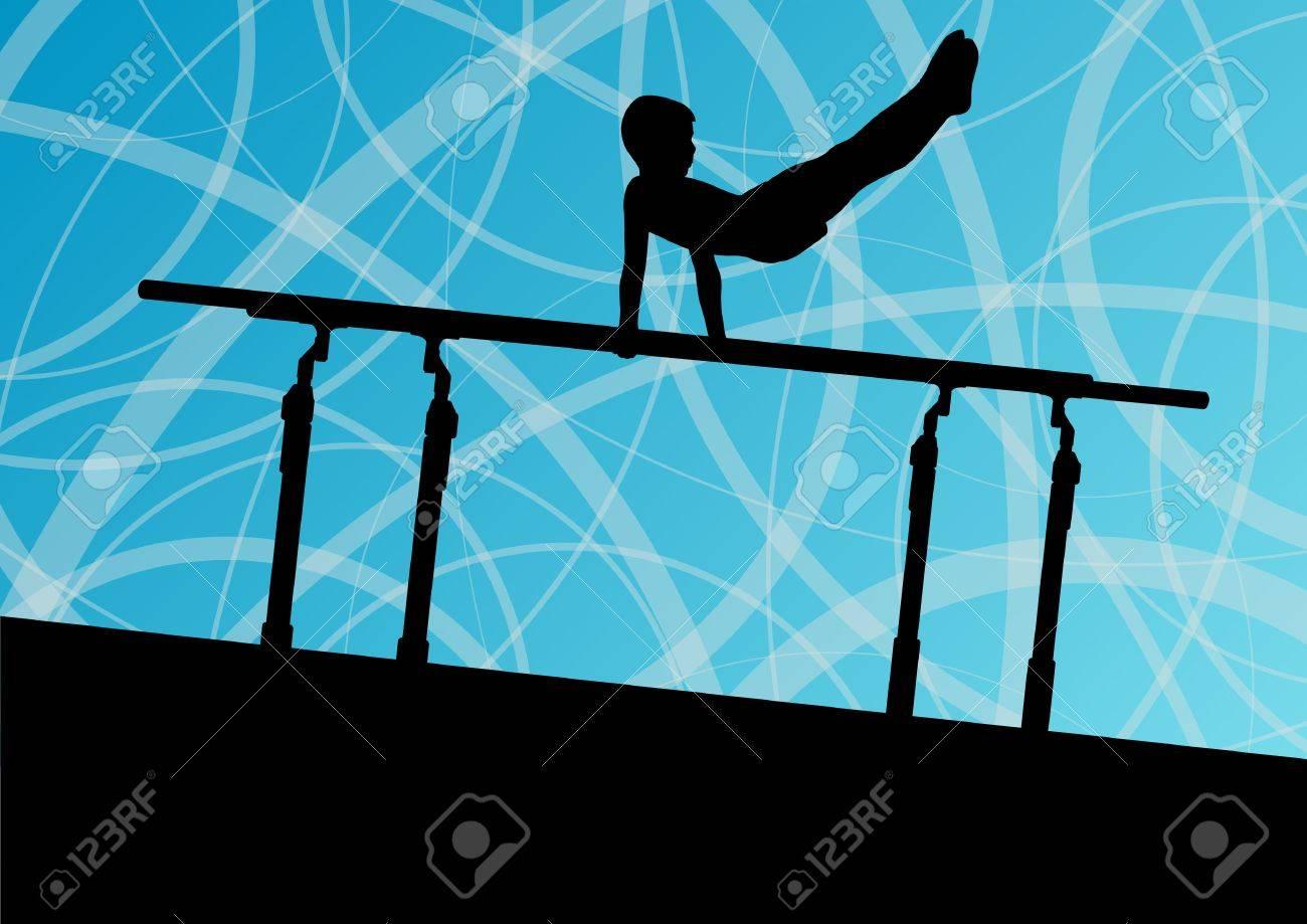 35086a9e5e2b Foto de archivo - Los niños activos silueta deporte en las barras paralelas
