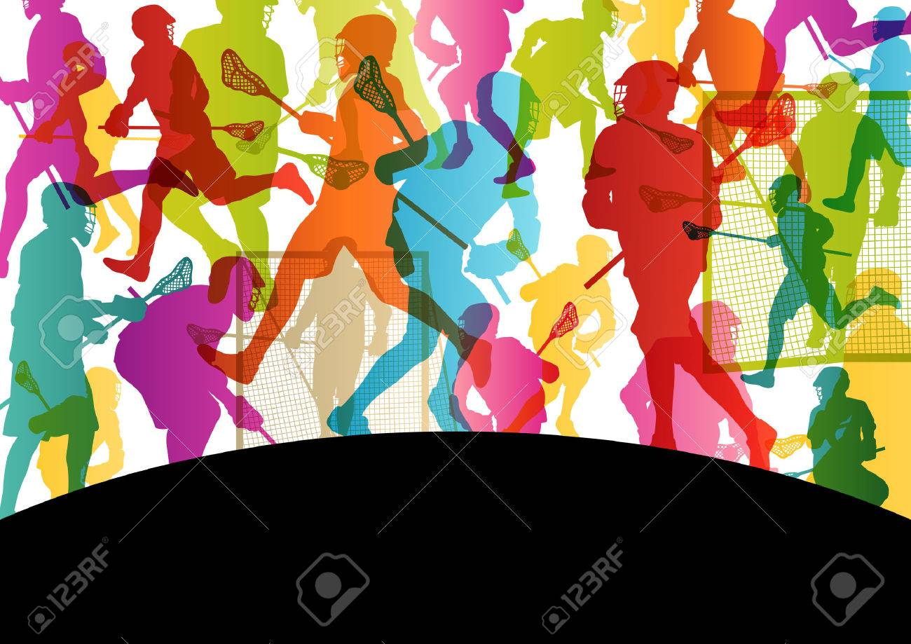 Lacrosse players active men sports silhouettes abstract background illustration vector Stock Vector - 25990362