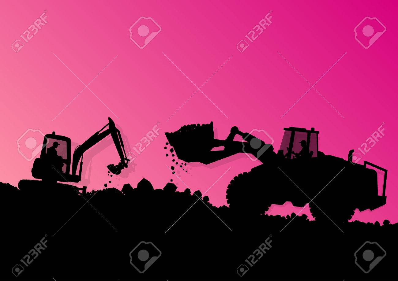 Excavator loader hydraulic machine tractor and workers digging at industrial construction site vector background illustration - 25990391