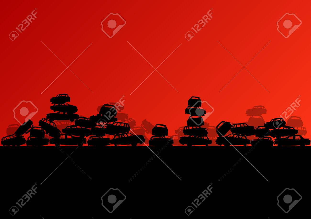 Old used automobile cars metal scrapyard graveyard landscape in industrial metal recyclable ecology concept vector background illustration Stock Vector - 25990028