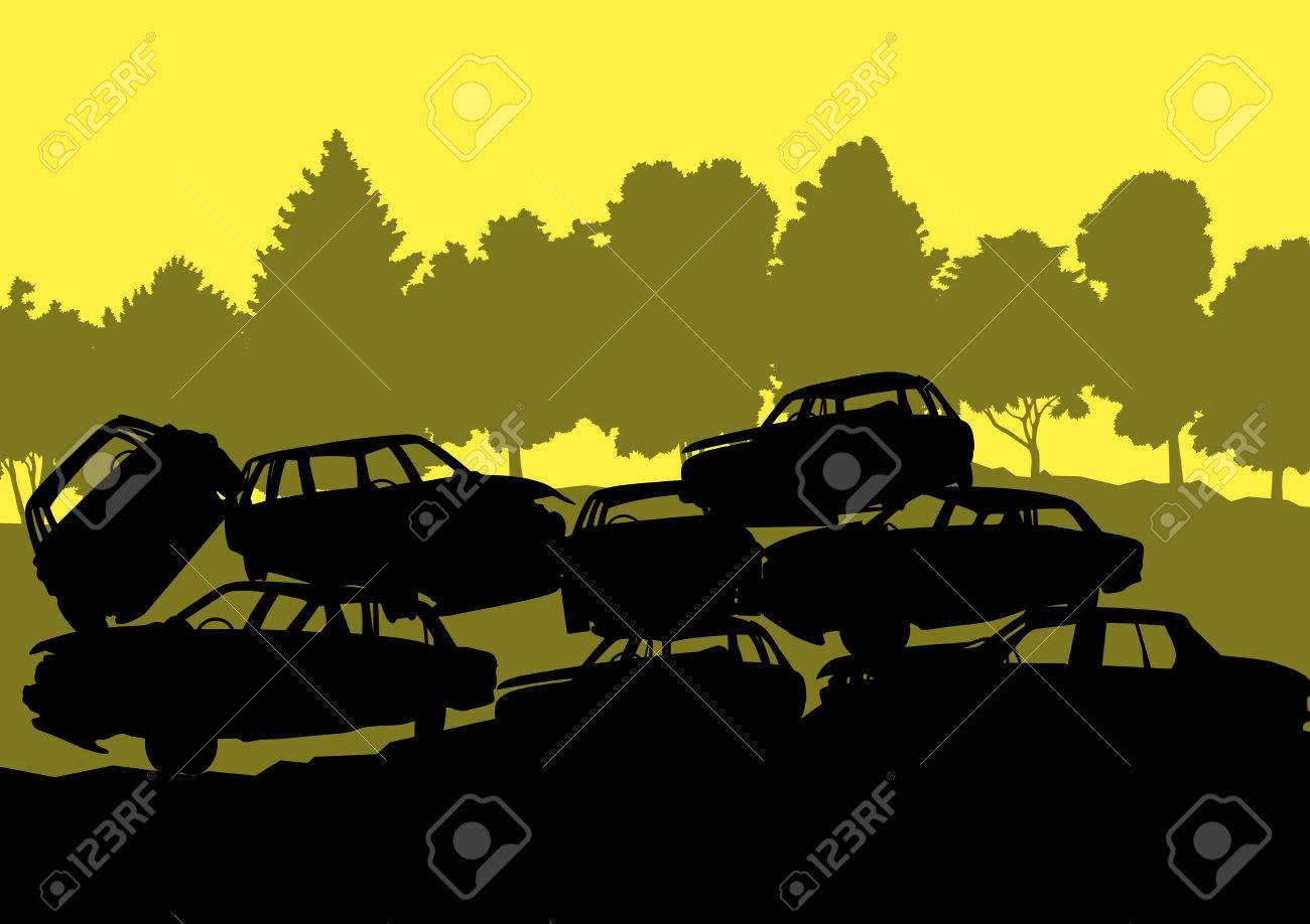 Old used automobile cars metal scrapyard graveyard landscape in industrial metal recyclable ecology concept vector background illustration Stock Vector - 25990041
