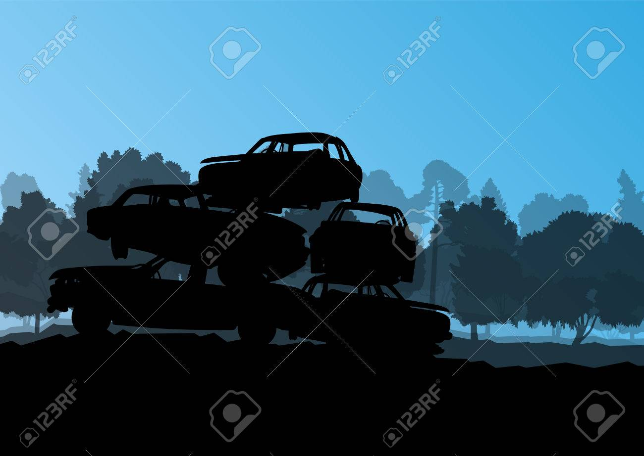 Old used automobile cars metal scrapyard graveyard landscape in industrial metal recyclable ecology concept vector background illustration Stock Vector - 25990043