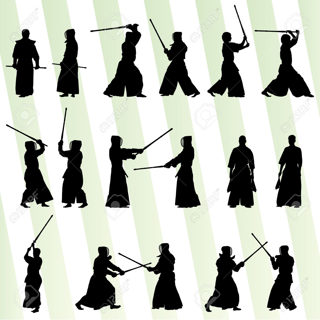 Active japanese Kendo sword martial arts fighters sport silhouettes set vector - 27496643