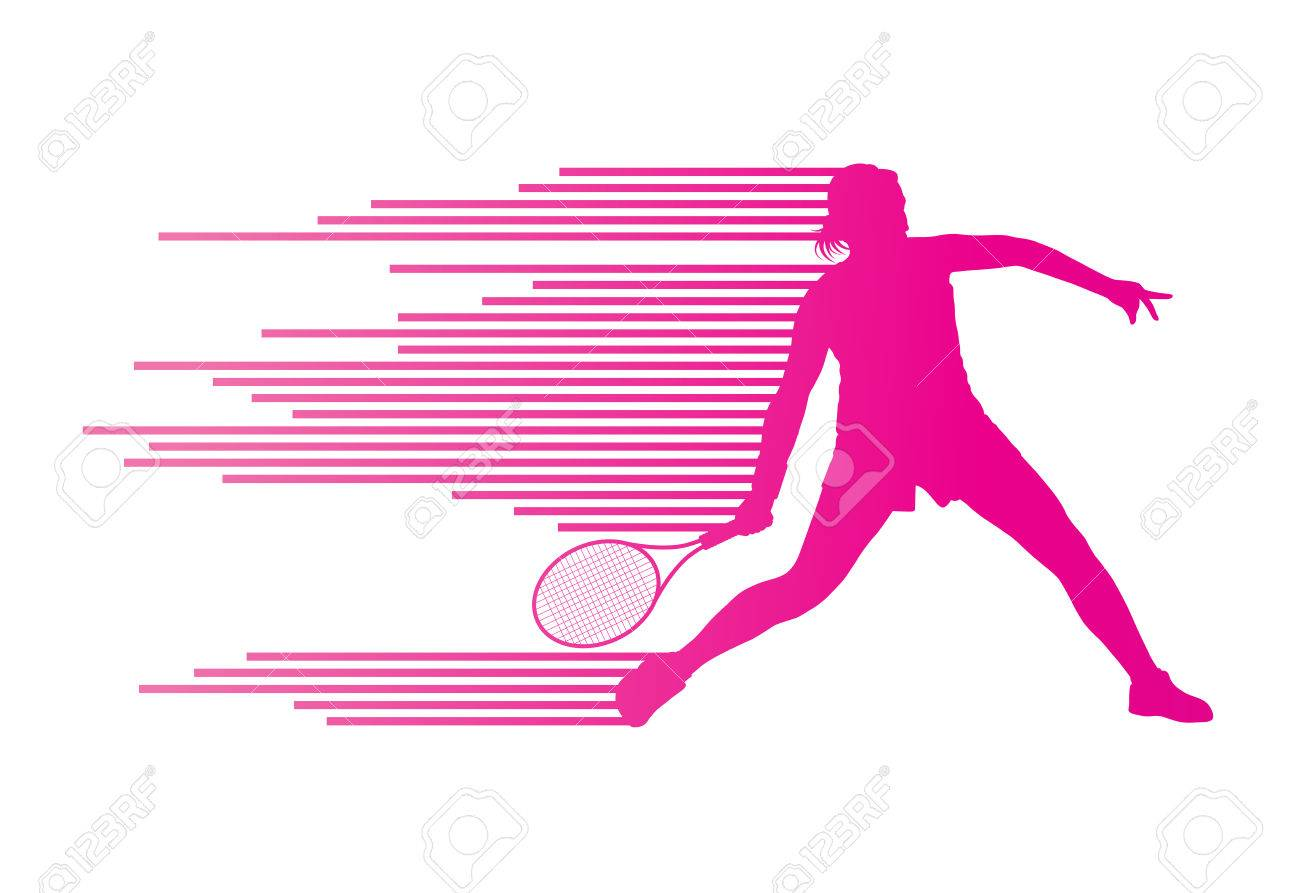 Tennis player abstract vector background concept made of stripes for poster - 28371491