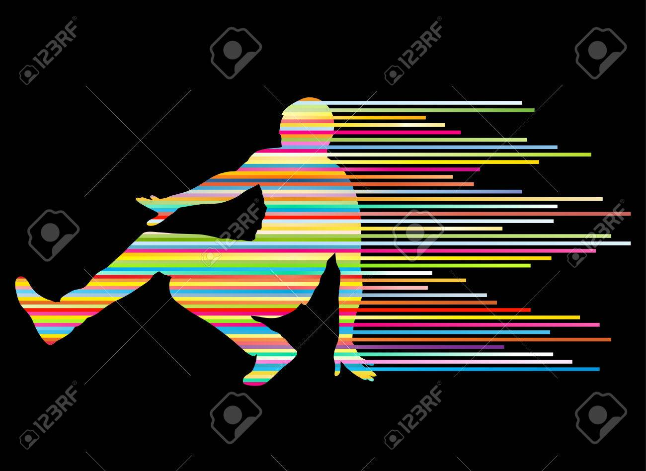 Hip Hop Dancer Silhouette Vector Background Concept Made Of Stripes For Poster Stock