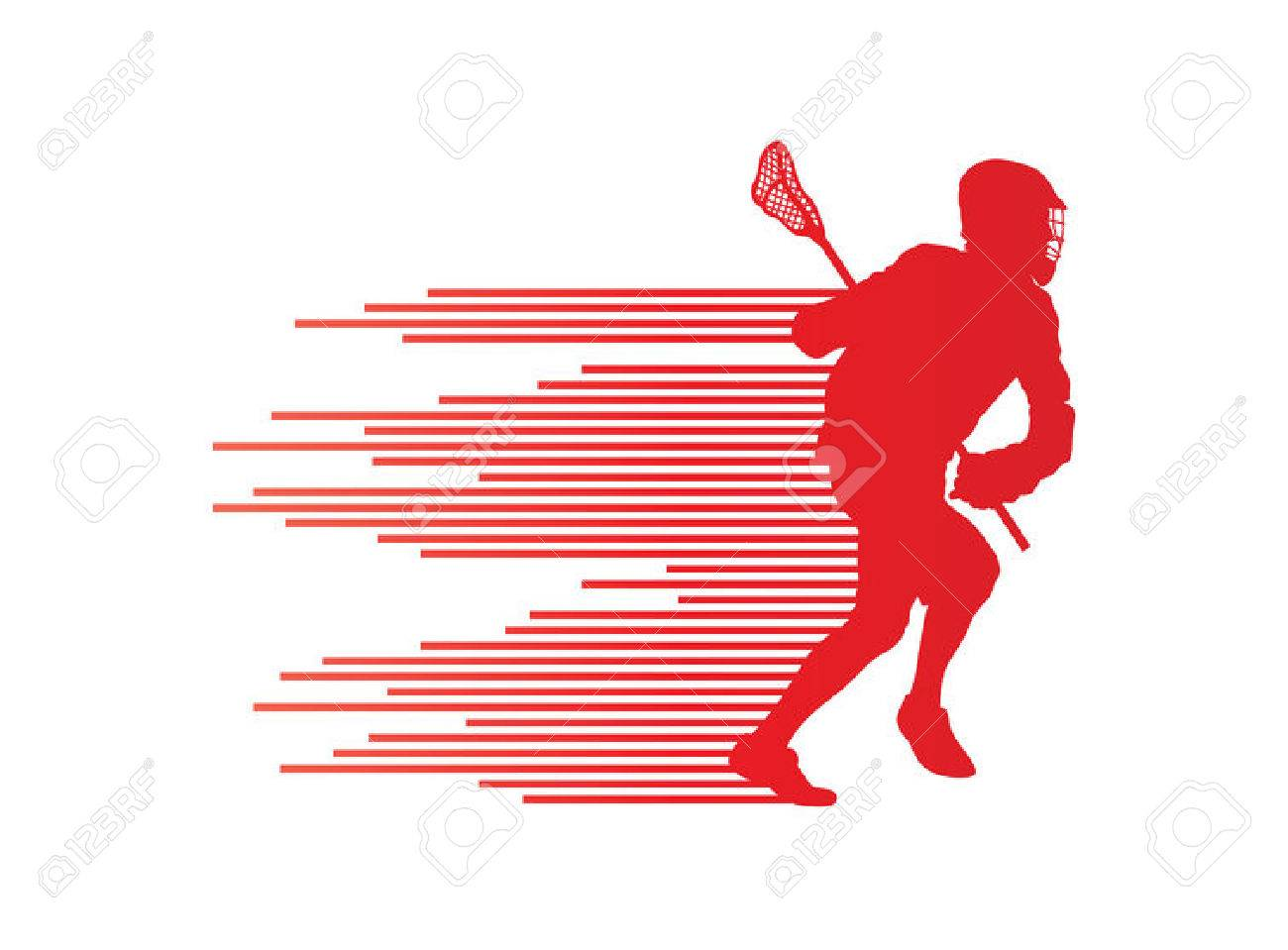 Lacrosse player in action vector background concept made of stripes for poster - 28371640
