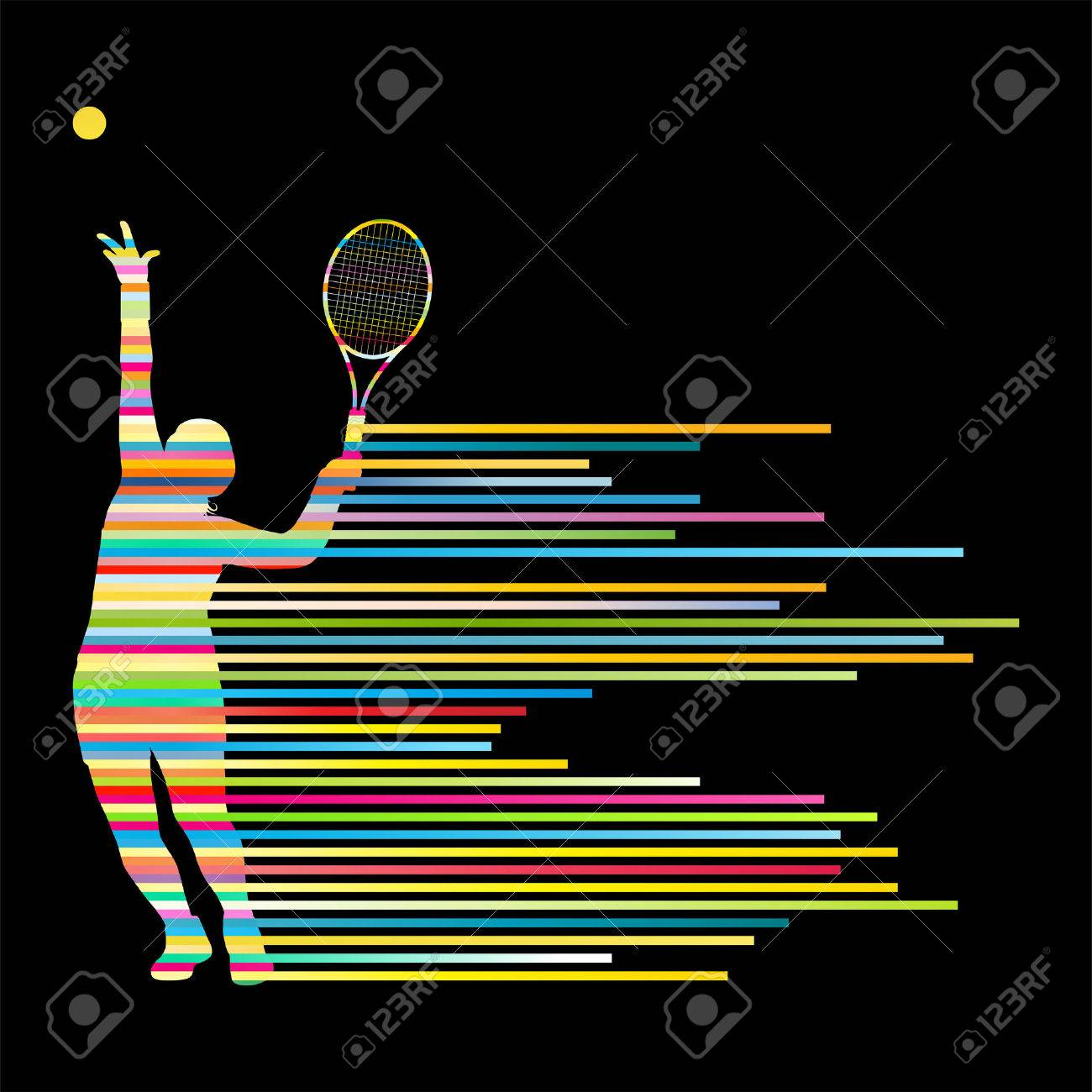 Tennis player abstract vector background concept made of stripes for poster - 28371709