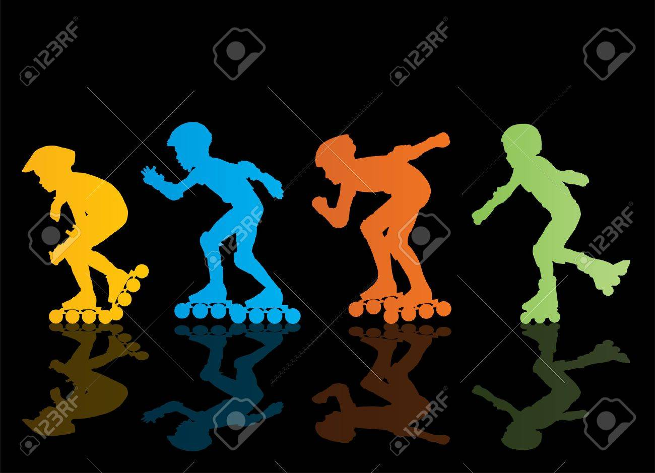 Roller skating silhouettes - 32531133