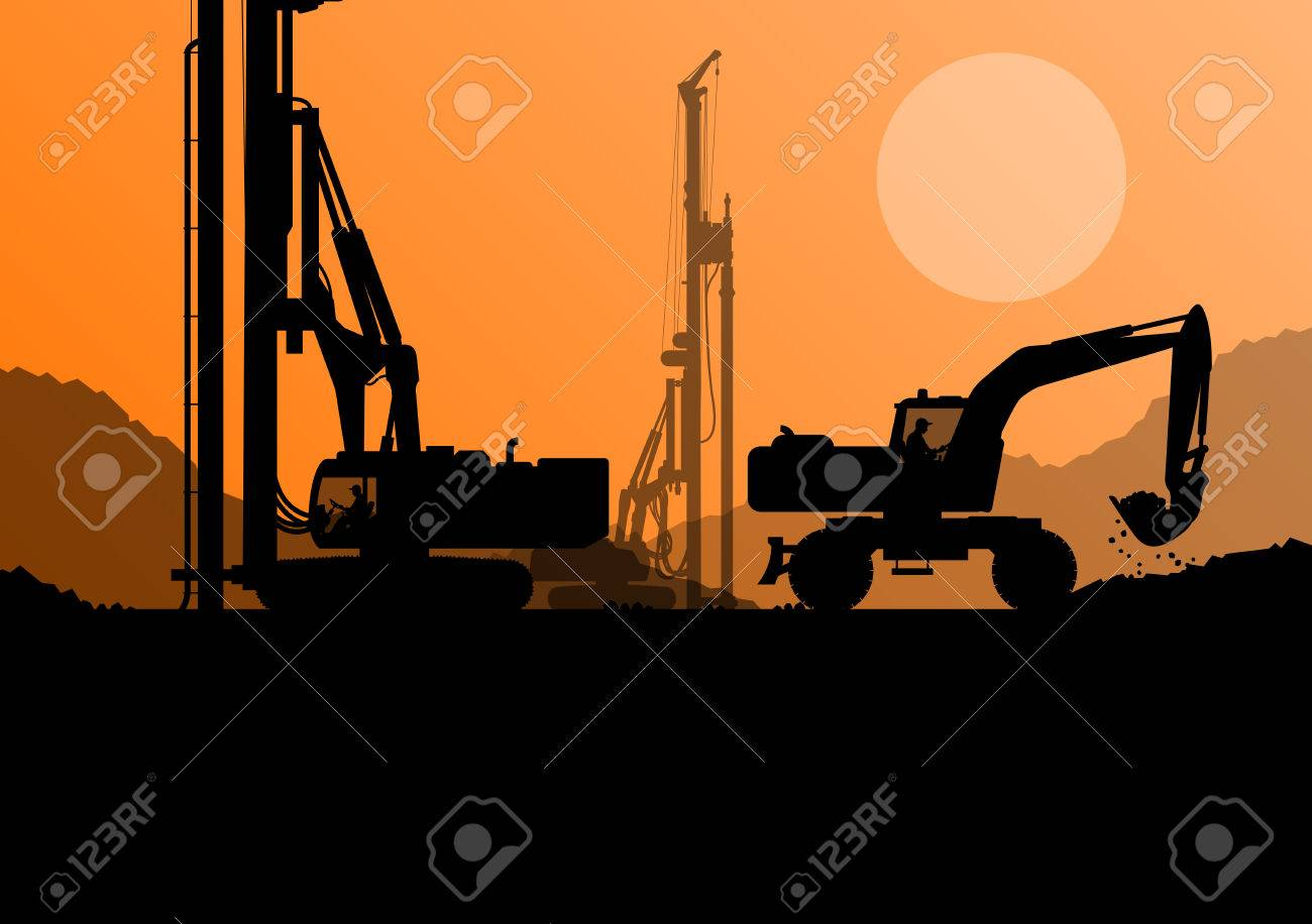 Hydraulic pile drilling machines, tractors and workers digging at industrial construction site vector background illustration - 33871233