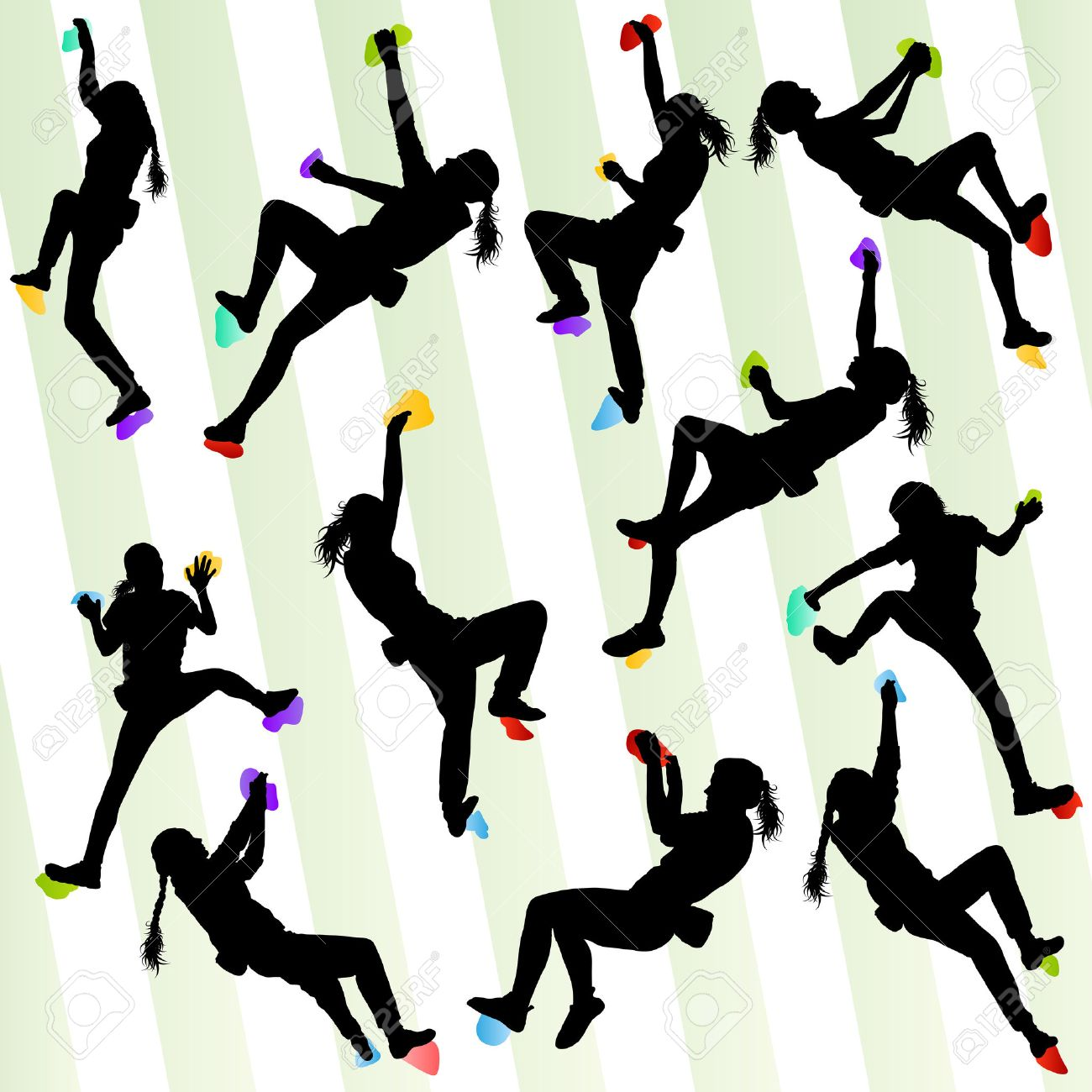 Girl climbing rock wall set vector background concept for poster - 33871246