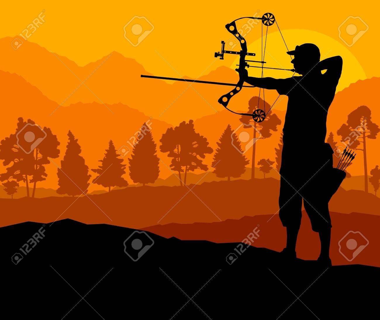 Active archery sport silhouette background vector in nature - 33872277