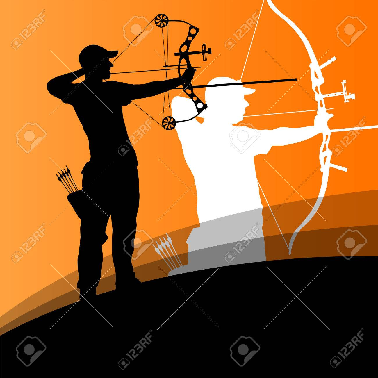 Active young archery sport man and woman silhouettes in abstract background illustration vector - 33873154