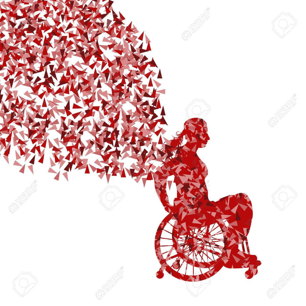 Woman in wheelchair vector background disabled people concept - 33872424