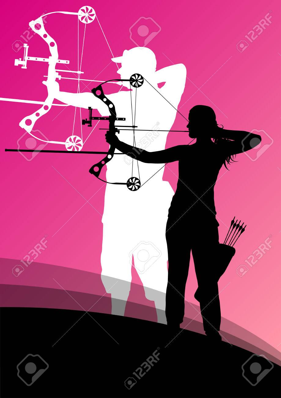Active young archery sport man and woman silhouettes in abstract background illustration vector - 33872810
