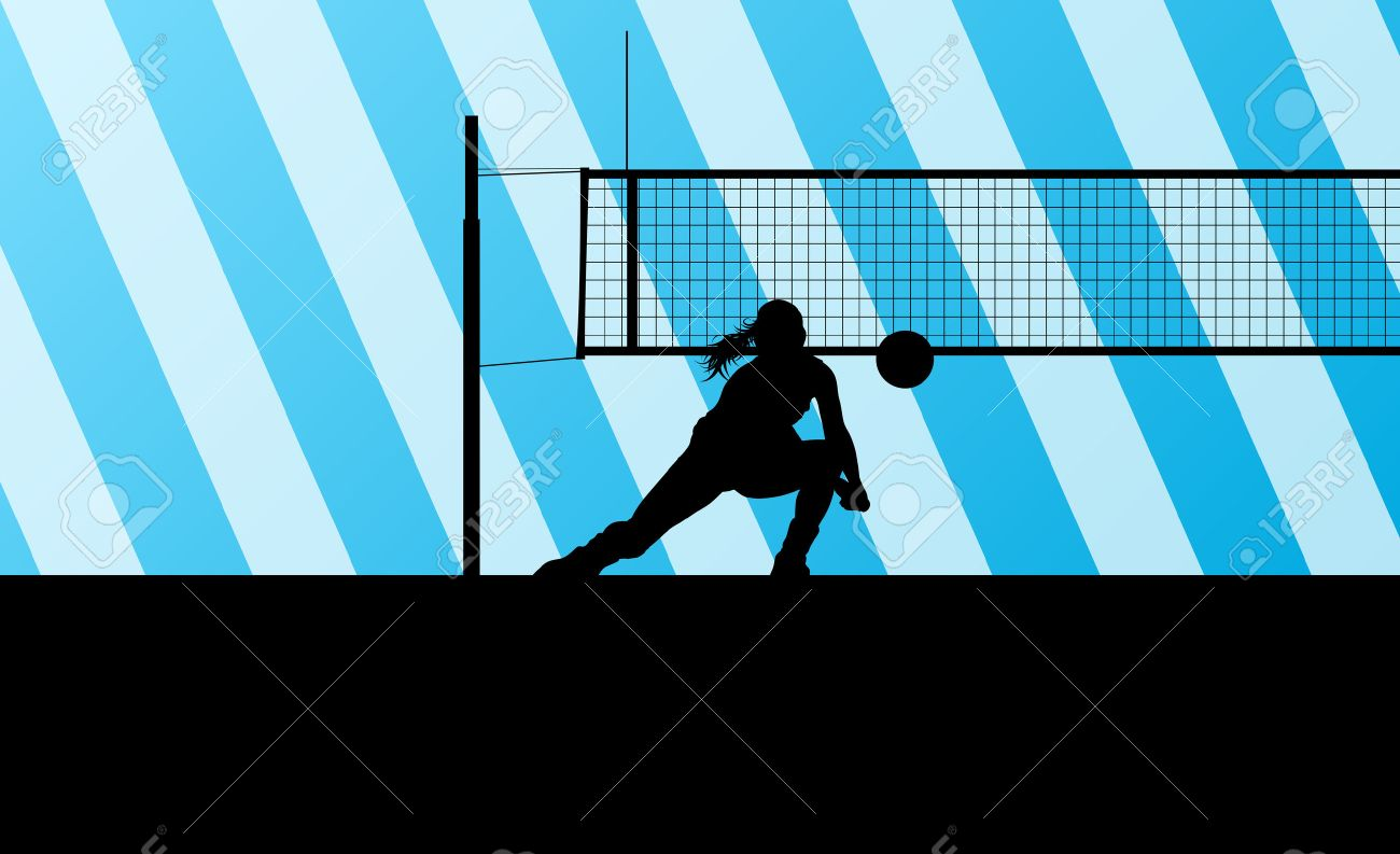 Volleyball woman player background concept - 34926130