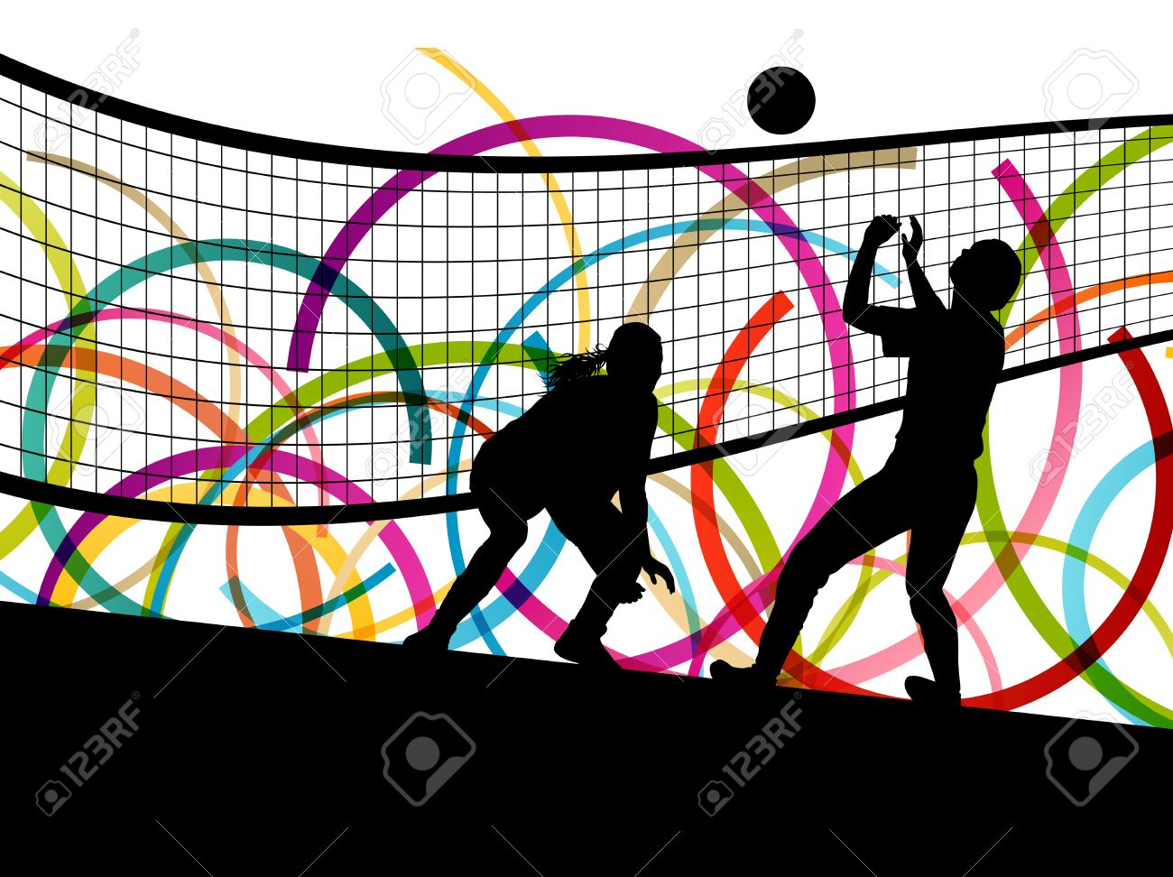 Active young women volleyball player sport silhouettes in abstract color background illustration vector - 35691374