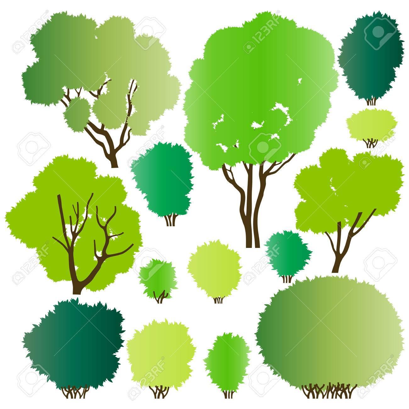 森林の木のシルエット コレクション背景イラスト ポスター ロイヤリティ