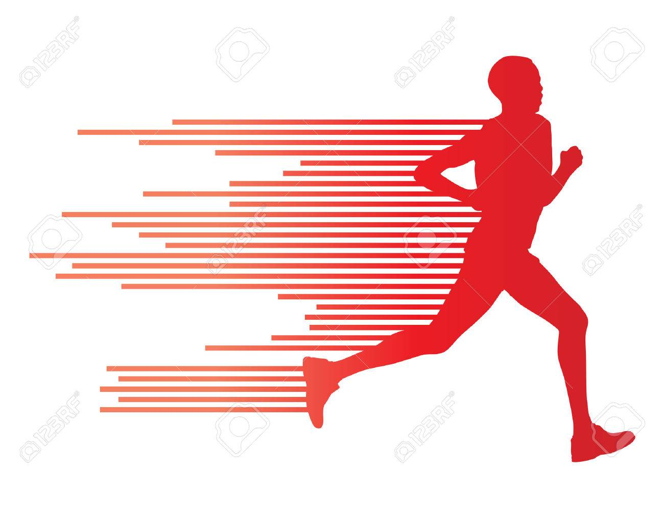 Man runner silhouette vector background template concept made of stripes - 36769515